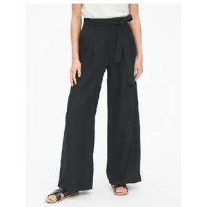 NWT Gap Linen High Rise Wide Leg Pants 10 Blac c37
